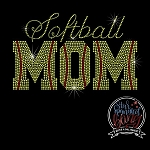 003 * Softball Mom Spangle Bling Rhinestone Style Transfer
