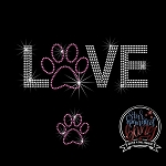 012 * Love Dog Paw Spangle Bling Rhinestone Style Transfer or Tee