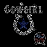 014 * Cowgirl Horseshoe Star Spangle Bling Rhinestone Style Transfer or Tee