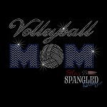 052 * Volleyball Mom Chevron Spangle Bling Rhinestone Style Transfer or Tee
