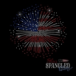 085 * Fireworks American Flag Spangle Bling Rhinestone Style Transfer or Tee