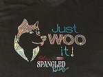 145 * Just Woo It Siberian Husky Dog Spangle Bling Round Neck Tee