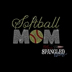 150 * Softball Mom Spangle Bling Rhinestone Style Transfer or Tee