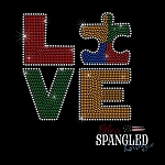 159 * Autism Puzzle Love Spangle Bling Rhinestone Style Transfer or Tee