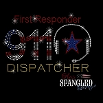 171 * First Responder 911 Dispatcher Spangle Bling Rhinestone Style Transfer or Tee