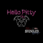 182 * Hello Pitty Pit Bull Spangle Bling Transfer 8.75x5.25