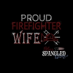 190 * Proud Firefighter Wife Spangle Bling Transfer 8x5