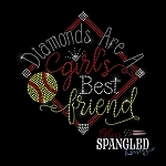 199 * Diamonds Are A Girl's Best Friend Softball Spangle Bling Rhinestone Style Transfer or Tee