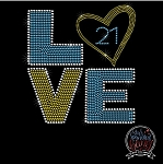 218 * Down Syndrome Love Spangle Bling Rhinestone Style Transfer or Tee