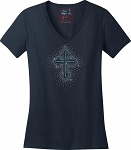 243 * Cross Spangle Bling Rhinestone Style Transfer or Tee