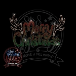 397 * Merry Christmas Antlers Spangle Transfer 9.5x5.5