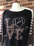 302 * Love Football Spangle Bling Rhinestone Style Transfer or Tee