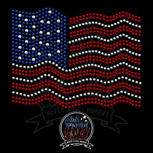 024 * Wavy American Flag Spangle Transfer 6.15x4.75