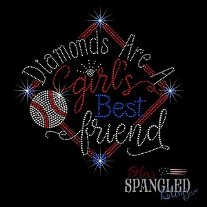 076 * Diamonds Are A Girl's Best Friend Baseball Spangle Bling Rhinestone Style Transfer or Tee