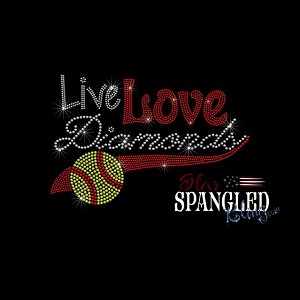 187 * Live Love Diamonds Softball Spangle Bling Transfer 8.5x5.5