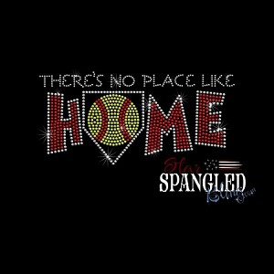 196 * No Place Like Home Softball Spangle Bling Rhinestone Style Transfer or Tee