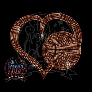 393 * Basketball In Heart Spangle Transfer 10.25x9.25